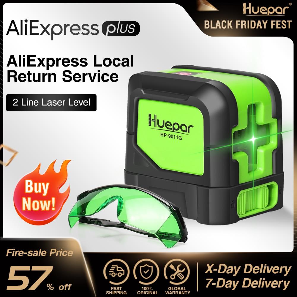 Huepar Green Cross Line Laser Self-Leveling Laser Level Vertical & Horizontal Laser + Green Adjustable Laser Enhancement Glasses